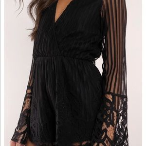 Tobi Pants - Black lace romper